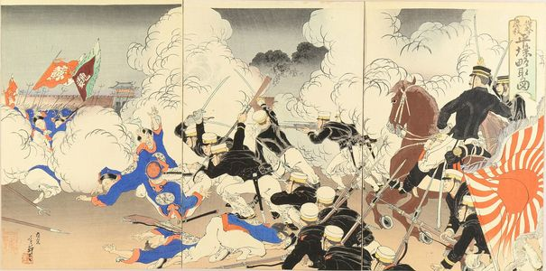 Migita Toshihide: A scene of Sino-Japan war, triptych, 1894 - Hara Shobō