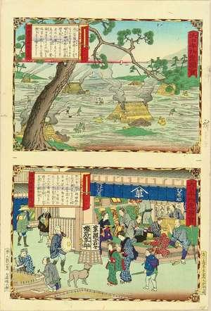 Utagawa Hiroshige III: An uncut sheet illustrating Himeji leather shop in Harima Province and Ako Saltern in Harima Province, from - Hara Shobō