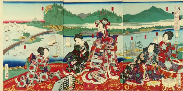 Utagawa Yoshitora: Genji and beauties on a terrace overlooking - Hara Shobō