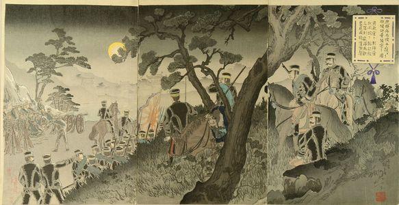 Watanabe Nobukazu: A scene of Sino-Japan war, triptych, 1894 - Hara Shobō