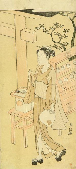 Suzuki Harunobu: A teahouse waitress, Osen, hollding a fan, c.1768 - Hara Shobō