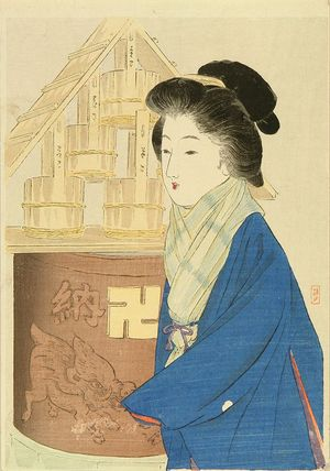 TAKEUCHI KEISYU: A frontispiece of a novel, 1911 - Hara Shobō