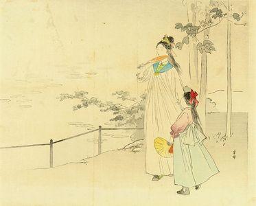 梶田半古: Frontispiece of a novel, from - 原書房