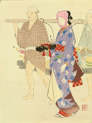 武内桂舟: Frontispiece of a novel, from - 原書房