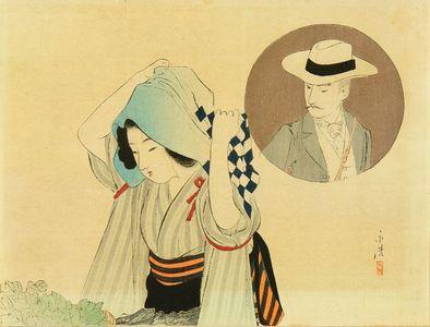 富岡英泉: Frontispiece of a novel, from - 原書房