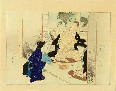 富岡英泉: Frontispiece of a novel, 1896 - 原書房