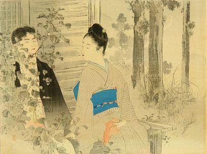 水野年方: Frontispiece of a novel, from - 原書房