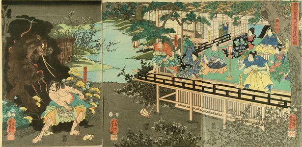 Utagawa Yoshikazu: Sagiike Heikuro slaying minster budger at Kuksunoki Masatsura's mansion, triptych, 1855 - Hara Shobō