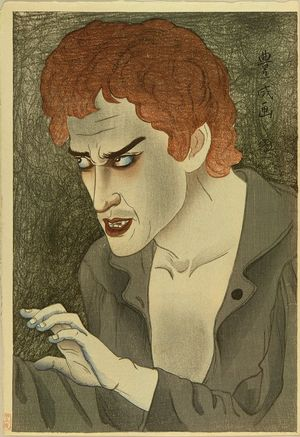 TOYONARI: A bust portrait of the actor Morita Kan'ya, in the role of Jean Valjean, first state with blue details on the hand, 1921 - Hara Shobō