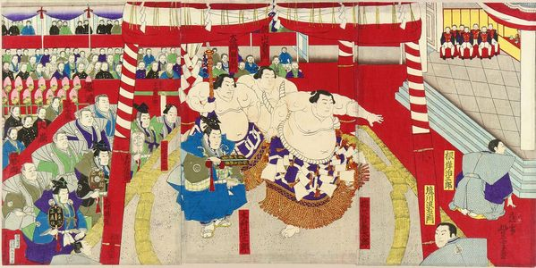 TOYONOBU: The sumo wrestler Umegaya Totaro entering the ring, triptych, 1884 - 原書房