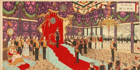 Adachi Ginko: Ceremony of the silver wedding of the Meiji Emperor, triptych, 1894 - Hara Shobō