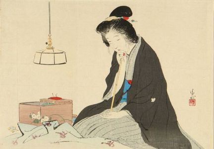 Kaburagi Kiyokata: A frontispiece of a novel in - Hara Shobō