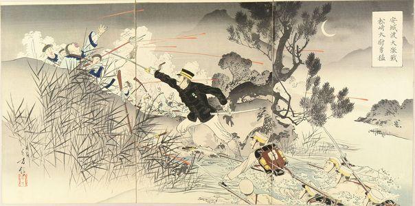 Mizuno Toshikata: A scene of Japan-China war, triptych, 1894 - Hara Shobō