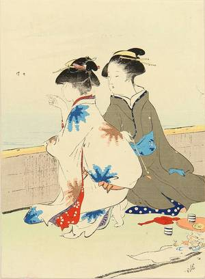Kaburagi Kiyokata: A frontispiece of a novel, 1910 - Hara Shobō