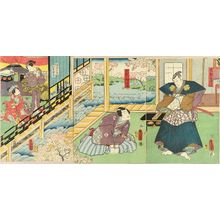 歌川国貞: A scene of a kabuki performance, triptych, 1859 - 原書房