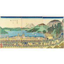 Utagawa Sadahide: A daimyo procession at Hakone, triptych, 1863 - Hara Shobō