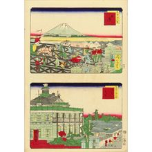 Ikkei: An uncut sheet with view of Nihonbashi, and Kaiunbashi Mitsui House, from - Hara Shobō