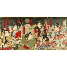 KUNIMASA IV: A scene of a kabuki performance, triptych, 1888 - Hara Shobō