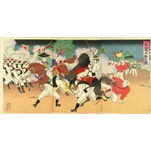 UNSIGNED: A scene of Shino-Japanese war, triptych, 1894 - Hara Shobō