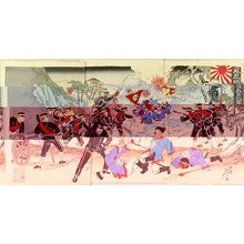 渡辺延一: A scene of Shino-Japanese war, triptych, 1894 - 原書房