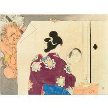 Mizuno Toshikata: A frontispiece of a novel, 1900 - Hara Shobō