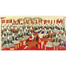 KUNIMASA��: Cerebration for the new stage at Chitose theater, triptych, 1886 - Hara Shobō