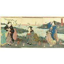 Utagawa Kunisada: Jewell River of Noda, Mutsu Province, triptych, 1856 - Hara Shobō