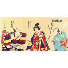 HOSAI: A scene of a kabuki performance, triptych, 1901 - Hara Shobō