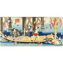 Utagawa Kunisada: Four celebrated actors performing a parody of - Hara Shobō