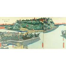 Utagawa Sadahide: View of Yodo River and Hachiman Shrine, triptych, 1863 - Hara Shobō