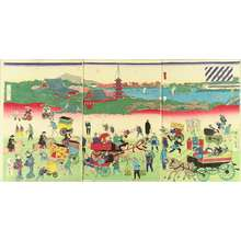 YOSHITORA & RISSHO: View of the broad street and Kinryuzan Temple, Asakusa, triptych, 1871 - 原書房