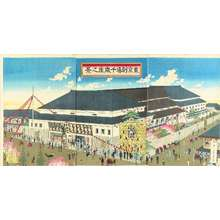 TANKEI: View of Chitose Theater, triptych, 1884 - Hara Shobō
