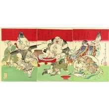 Tsukioka Yoshitoshi: Seven deities, triptych, 1882 - Hara Shobō