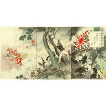 水野年方: A scene of Sino-Japan war, with Japanese journalists including Kubota Beisen, triptych, 1894 - 原書房