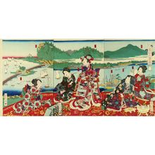 Utagawa Yoshitora: Genji and beauties on a terrace overlooking - Hara Shobō