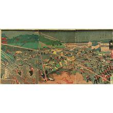 Utagawa Yoshitora: A battle scene, titled - Hara Shobō