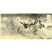 水野年方: A scene of Sino-Japan war, triptych, 1894 - 原書房