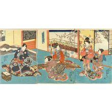 Utagawa Kunisada: Genji and beauties playing - Hara Shobō