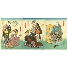 Utagawa Kunisada: A scene of a kabuki performance, triptych, 1850 - Hara Shobō