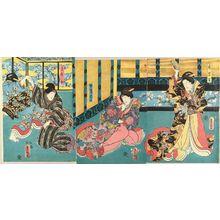 Utagawa Kunisada: A scene of a kabuki performance, triptych, 1852 - Hara Shobō