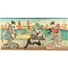 Utagawa Kunisada: A scene of a kabuki performance, triptych, 1853 - Hara Shobō