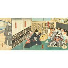 Utagawa Kunisada: A scene of a kabuki performance, triptych, 1855 - Hara Shobō