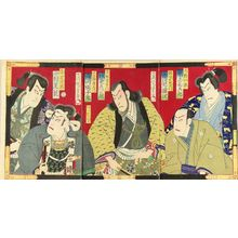 Morikawa Chikashige: A scene of a kabuki performance, triptych, 1876 - Hara Shobō