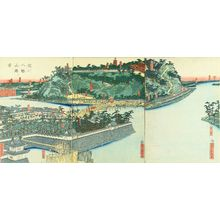 歌川貞秀: View of Yodo River and Hachiman Shrine, triptych, 1863 - 原書房