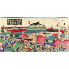 Utagawa Kunitoshi: Prosperity of Suitengu and Imasei restaurant on Ningyocho Street, triptych, 1882 - Hara Shobō