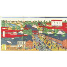 SHIGEKIYO: View of the ground of Asakusa Kannon Temple and its brick building along the approach, triptych, 1886 - Hara Shobō