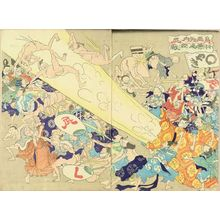 UNSIGNED: A caricature, illustrating fighting with their fart, diptych - Hara Shobō
