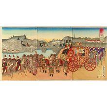 Utagawa Kunitoshi: An imperial procession, triptych, 1889 - Hara Shobō