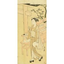 鈴木春信: A teahouse waitress, Osen, hollding a fan, c.1768 - 原書房