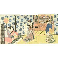 Utagawa Kunisada: Dance performance at Bizen-ya, Furuichi, Ise Province, triptych, c.1830 - Hara Shobō